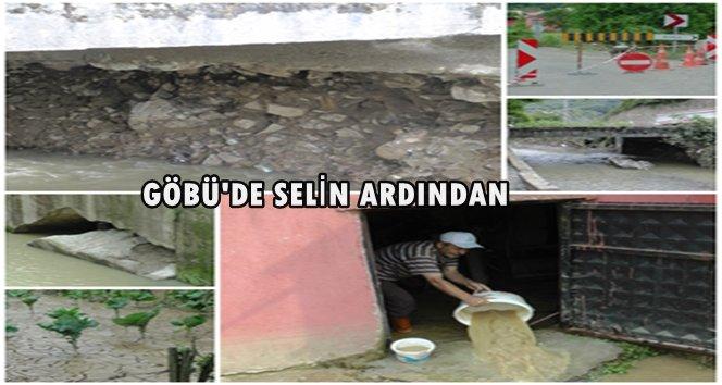 Göbü Köyünde yaşanan sel felaketinin ardından (Görüntülü)