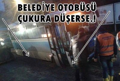 Belediye Otobüsü Yan Yattı.!