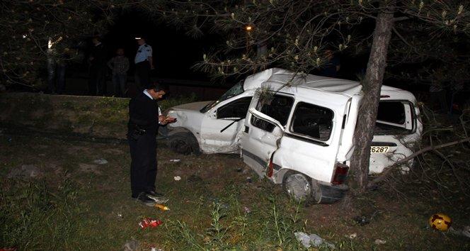 Yoldan çıkan otomobil elektrik direğini devirerek ağaca çarptıktan sonra durabildi