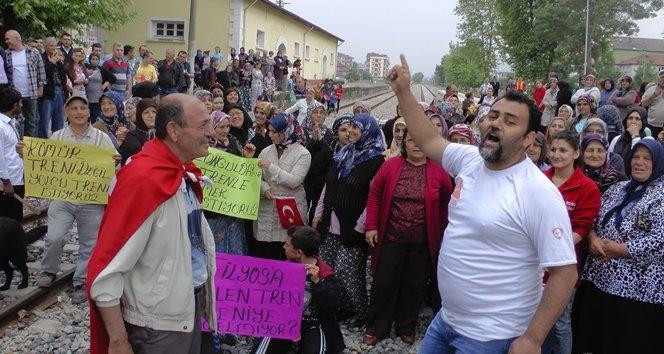 Saltukova'da Yolcu Trenlerinin Çaycuma'ya kadar Çalışması için Eylem Yapıldı (Görüntülü)