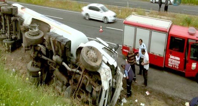 LPG Yüklü Tanker Devrildi Sürücü Yaralandı