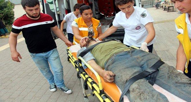 Lastikten fırlayan parça sonucu yüzünden yaralandı