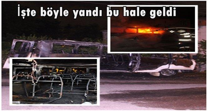 Zonguldak'ta park halindeki minibüs alev alev yandı