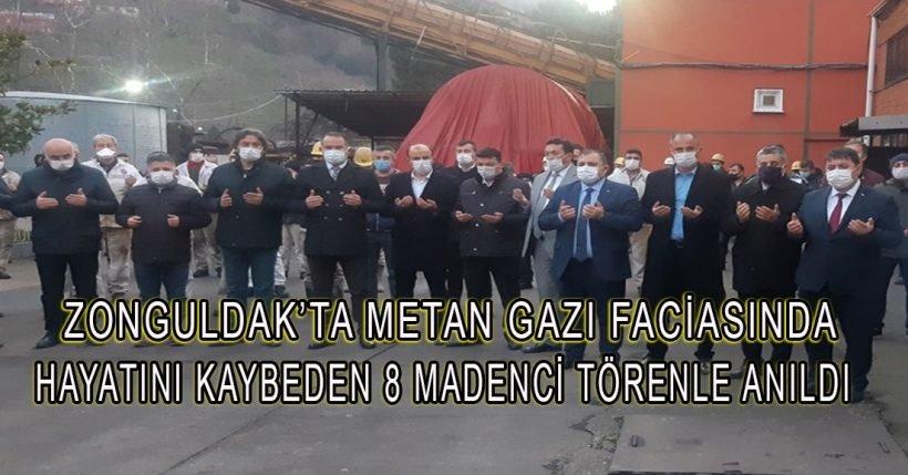 Zonguldak'taki metan gazı faciasında hayatını kaybeden 8 madenci törenle anıldı