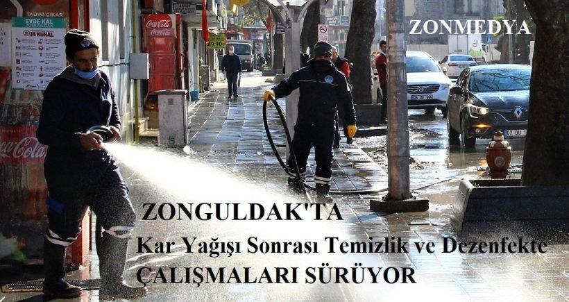 Zonguldak'ta  kar yağışı sonrası temizlik ve dezenfekte çalışmaları devam ediyor
