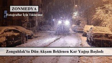Zonguldak ve çevre yerleşim bölgelerinde beklenen kar yağışı başladı