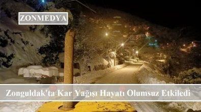 Yoğun kar yağışı Zonguldak'ta hayatı olumsuz etkiledi
