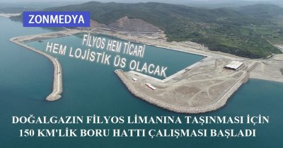 Doğalgazın Filyos limanına taşınması için 150 kilometrelik boru hattı çalışması başladı.