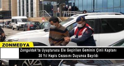 Zonguldak'ta  uyuşturucu ele geçirilen geminin Çinli kaptanı 30 yıl hapis cezasını duyunca bayıldı.