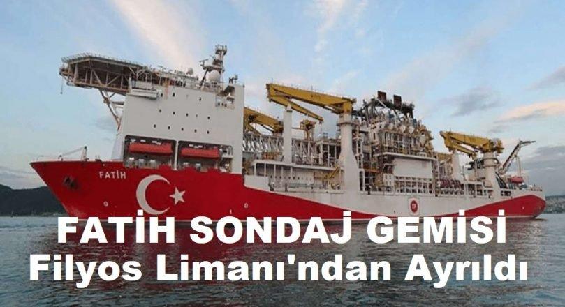 Fatih sondaj gemisi  Filyos Limanı'ndan ayrılarak  Amasra-1'e doğru yola çıktı