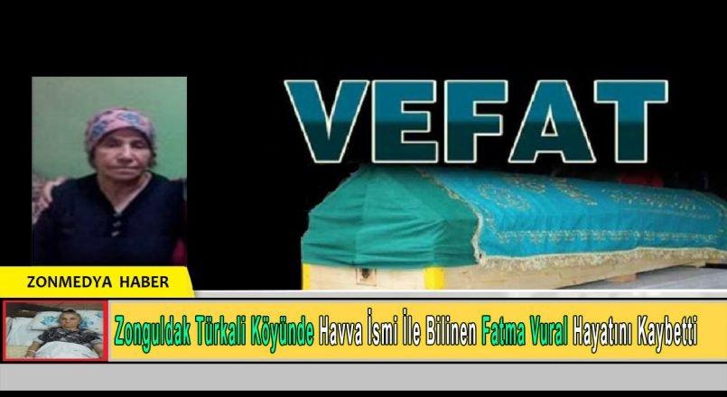 Zonguldak Türkali Köyünde Havva ismi ile bilinen, kimlik ismi Fatma Vural hayatını kaybetti.
