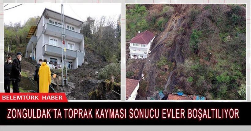Zonguldak'ın Kilimli ilçesinde toprak kayması sonucu evler boşaltılıyor.