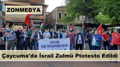 Çaycuma Sivil Toplum Kuruluşları, İsrail zulmünü protesto etti.