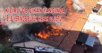 Zonguldak'ın Kilimli ilçesinde çıkan yangında 8 iş yerinde büyük hasar oluştu.