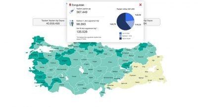 Türkiye'nin aşı haritası erişime açıldı. Zonguldak aşılamada ne durumda?