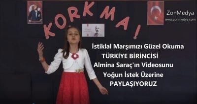 Türkali İlköğretim okulu öğrencisi Almina Saraç'ın İstiklal Marşımızı güzel okuma yarışmasında Türkiye birincisi olduğu video  görüntüleri yoğun istek üzerine yayınlıyoruz.