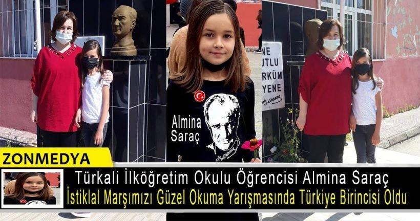 Zonguldak Türkali İlköğretim okulu öğrencisi Almina Saraç, İstiklal Marşımızı güzel okuma yarışmasında Türkiye birincisi oldu.