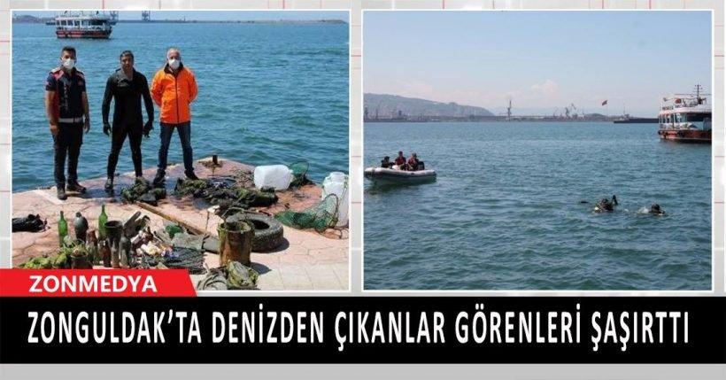 Zonguldak'ta denizden çıkanlar görenleri şaşırttı.