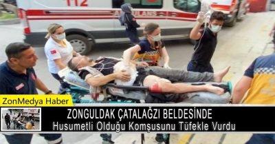 Zonguldak'ın Çatalağzı beldesinde husumetli olduğu komşusunu tüfekle vurdu.