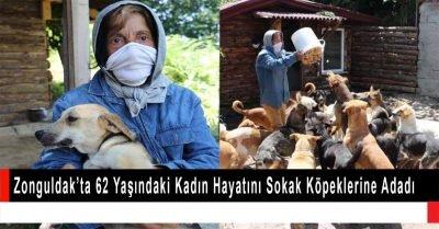 Zonguldak'ta  62 yaşındaki kadın hayatını sokak köpeklerine adadı