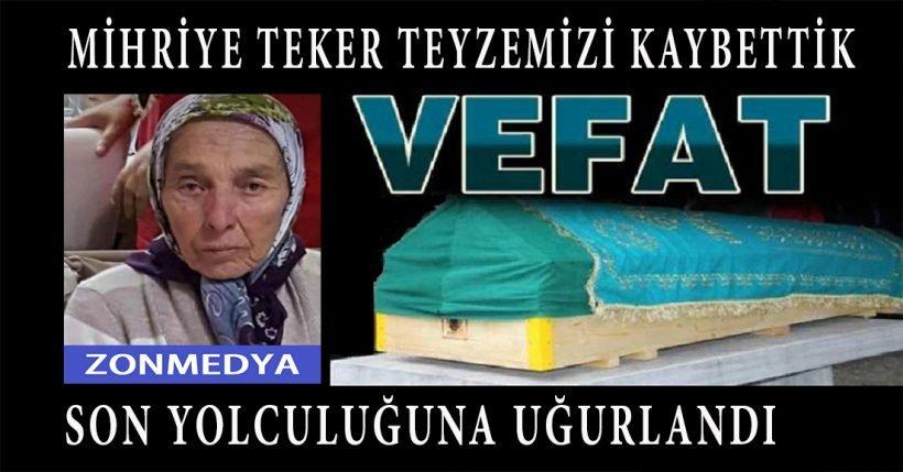 Zonguldak Türkali Köyünde Mihriye Teker Hayatını Kaybetti.