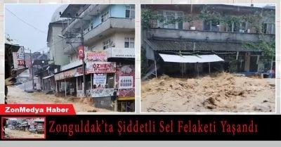 Zonguldak'ta etkili sağanak nedeniyle onlarca ev ve işyerini su bastı.