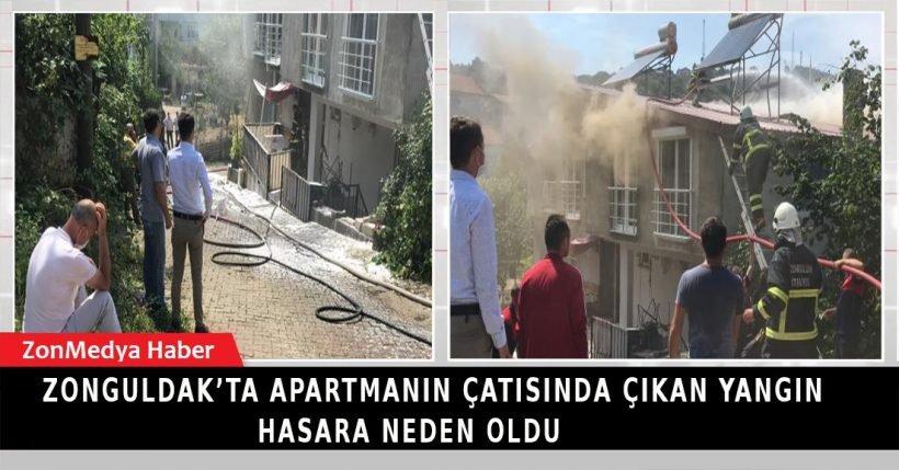 Zonguldak'ta apartmanın çatısında çıkan yangın hasara neden oldu