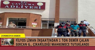 Filyos Liman inşaatından 1 ton demir çalan kişi tutuklandı