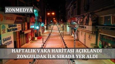 Haftalık vaka haritası açıklandı. Zonguldak ilk sırada!