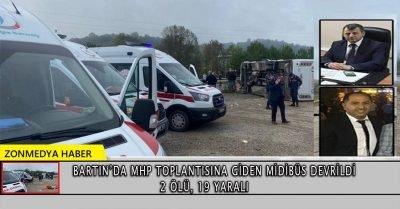 Bartın'da MHP toplantısına giden midibüs devrildi: 2 ölü, 19 yaralı
